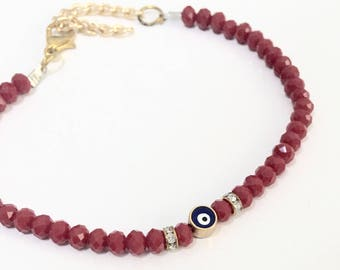 Red Evil Eye Bracelet, Beaded Evil Eye Bracelet, Evil Eye Jewelry, Turkish Jewelry