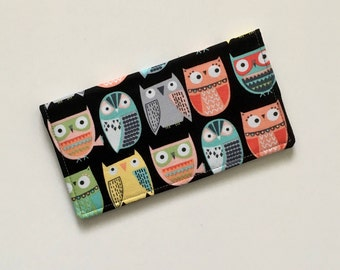 Owl Checkbook Cover, Colorful Checkbook Cover, Fabric Checkbook Cover, Checkbook Case, Checkbook Holder