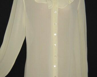 LAURA ASHLEY Vintage Ethereal Sheer Cream Frill-Neck Blouse, Medium
