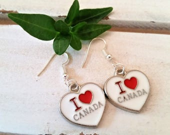 Heart Canada charm earrings - heart charm jewelry - Canada jewelry - enamel Canadian heart earrings - I love Canada heart charms