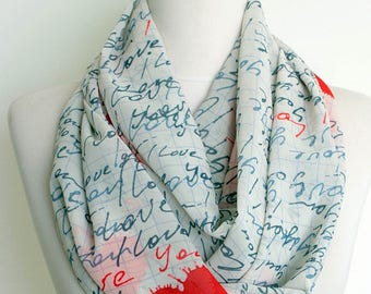 Handwriting Love You Pattern Chiffon Infinity scarf Circle scarf Long Scarf Valentines Day Gift Ideas For Her Fall  winter fashion Sale