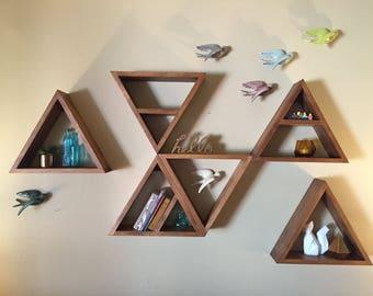 Geometric Modern Shelving - Triangle Shelf - Minimalist Home Decor - Mid Century Modern Storage - Wooden Wall Art - OOAK - Set of 3 Shelves