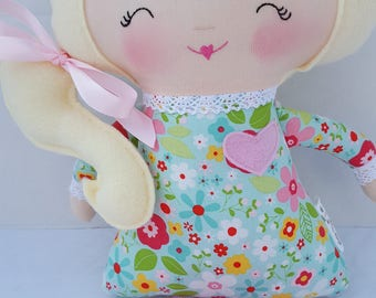 Handmade Soft Doll, Modern Rag Doll, Toddler or Baby Gift, valentine's gift, Made to Order, includes personalization