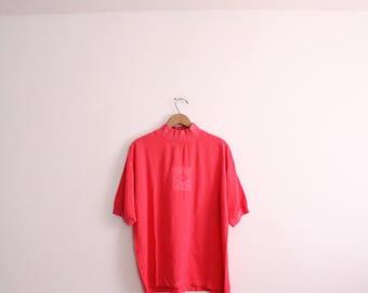 Hot Pink 90s Emblem Mock Turtleneck Blouse