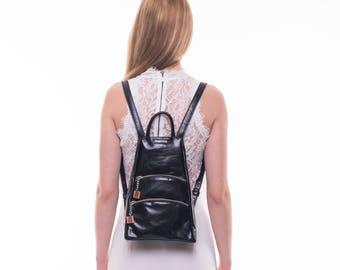 Small backpack, black leather backpack, backpack purse, leather rucksack, women backpack, mini backpack purse, city backpack