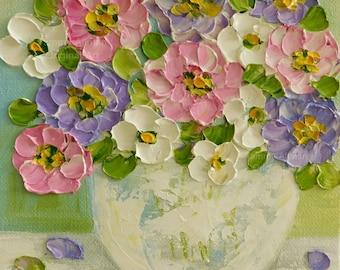 Small Impasto Zinnia Flower Painting, Floral Impasto Oil Painting,