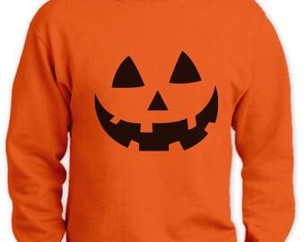Smiling Pumpkin Face - Easy Halloween Costume Fun Sweatshirt