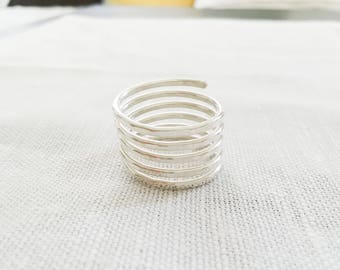 Simple Statement Ring Sterling Silver Hammered Coil Ring Women Ring Summer Jewelry