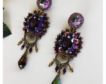 Long crystal earrings, bead embroidery fantasy earrings, purple, statement earrings, beaded dangle, chandelier earrings, dangle prom