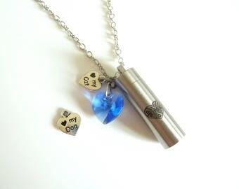 Pet Urn Swarovski Heart Necklace- Cat Urn Necklace-Dog Urn Necklace- Swarovski Heart Urn Necklace- Pet Memorial Necklace- Pet Urn Chain- 638