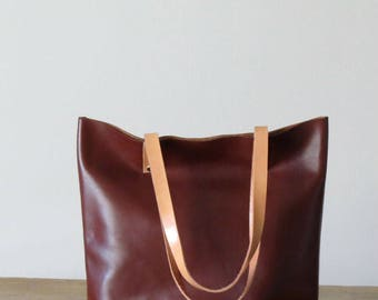 MARY, the Classic Leather Tote Bag. Leather Purse, Brown Leather Shoulder Bag, Handmade Leather Bag, Laptop Bag, Leather Shopping Bag