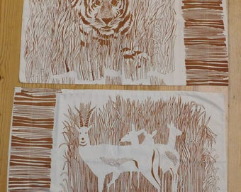 2 vintage matching pillowcases TIGER and ANTELOPE