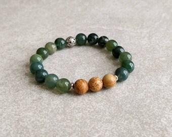 Yoga Beads - Moss Agate and Picture Jasper - Mala Bracelet - Gemstone Energy Bracelet - Wrist Mala - Meditation Bracelet - Item #393