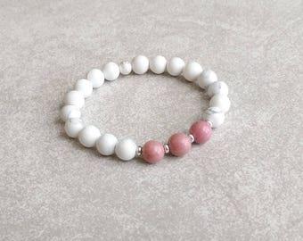 White Howlite Bracelet with Pink Rhodonite - Natural Gemstones - Compassion & Patience - Gemstone Bracelet - Gifts for Her - Item 362