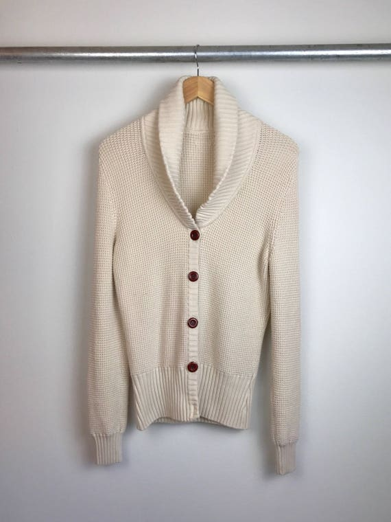 Vintage Women's Nautical Cardigan Sweater in Cream