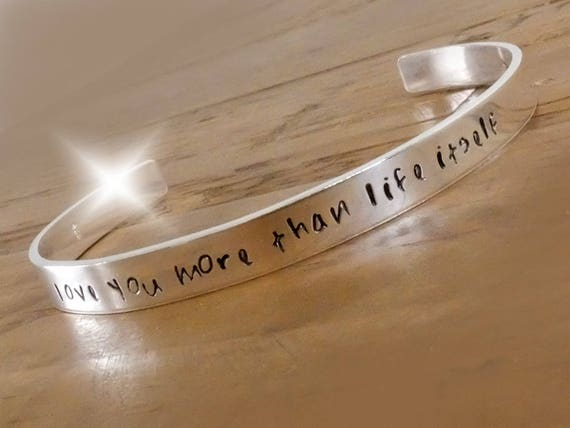 Personalised Silver Bangle, Silver Bracelet with Message, Romantic Gift, Anniversary Gift, Childrens Names Bangle, Personalised Silver Cuff