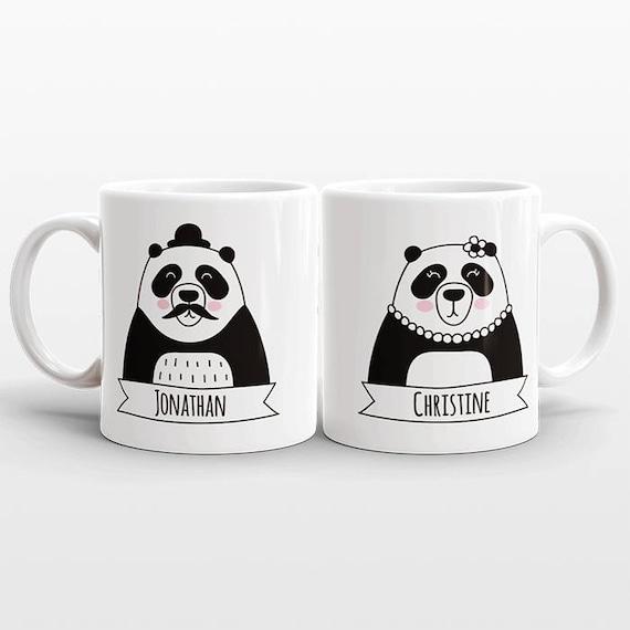 Set of 2 CUSTOM Mugs Set, Engagement Mug Set, Name Mugs, Panda Couple Mugs, Anniversary Gift for Men, Personalized Wedding Gift, Coffee Mugs