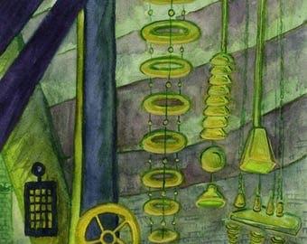 Frankenstein Laboratory, Original Watercolor Painting