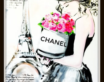 Chanel Illustration by Lana Moes, Coco Chanel Wall Art, Paris Poster, Chanel Poster, Parisienne, Flowers Girl, Parisian Decor