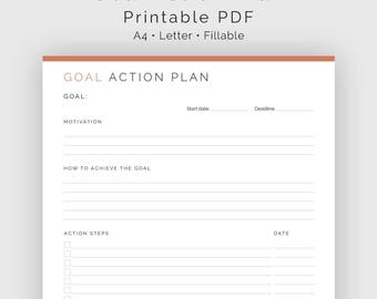 Goal Action Plan - Fillable - Printable PDF - New Year Resolution, Goal Tracker -  Home Management - Instant Download