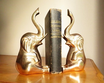 Vintage Brass Elephant Bookends, Gold Elephant Book Ends, Elephants Statue, Brass Figurine, Hollywood Regency, Child Nursery Bookend, Large