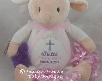 Personalized Baby Baptismal Gift Embroidered Soft Plush Baptism Lamb, Christening Baptism Lamb, by Felicia's Fancies Baby Boutique