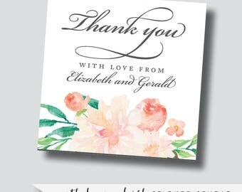 Blush and cream wedding stickers, blush florals, blush watercolor flowers, pink watercolor stickers, thank you stickers, custom stickers
