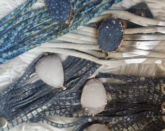The Vintage Junkie...Split Leather and Suede Boho Cuffs with Quartz and Druzy Embellishments