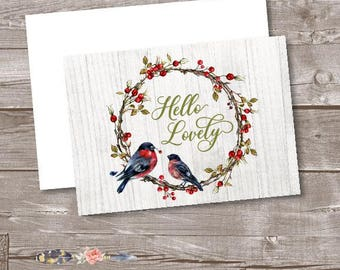 Bird Note Cards, Woodland Note Cards, Hello Lovely Blank Thank You Cards, Christmas Note Cards, Wreath and Berries Thank You Card