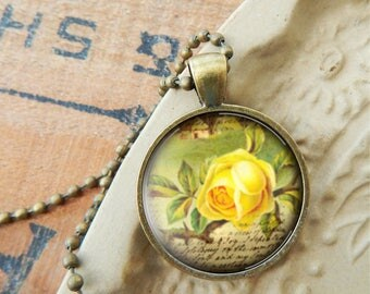 Yellow rose pendant etsy yellow rose necklace yellow rose pendant rose jewelry vintage yellow rose necklace mozeypictures Images