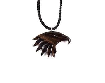 Eagle Necklace, Eagle Pendant, Eagle Head Necklace, Wood Eagle Necklace, Mens Necklace, Eagle Totem Necklace, Mens Jewelry, Eagle Jewelry