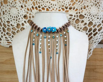 Forget Me Not Blue Fringe Boho Choker