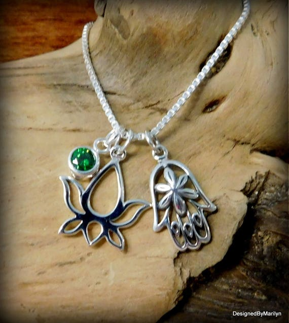Sterling silver hamsa hand necklace, lotus flower necklace, yoga jewelry, religious jewelry, meditation