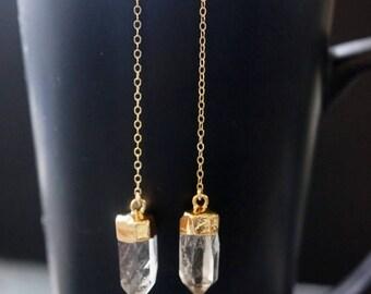 SALE / Quartz Earrings / Crystal Earrings / Gold Quartz Earrings / Raw Quartz Earrings / Quartz Jewelry / Quartz Crystal Earrings