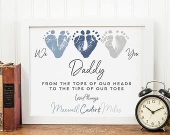 Gift for mom from triplets or 3 children baby footprint heart fathers day gift from triplets new dad daddy we love you baby footprint negle Images
