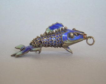 JAPANESE KOI Fish Pendant-Big Antique Vintage Sterling Silver Cobalt Blue Enamel-Cloisonne Articulated-Collectible Chinese Asia Asian-01020
