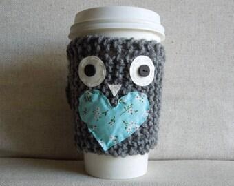 Owl Coffee Cozy, Mug Sweater, Coffee Sleeve, Mug Cozy, Gift for Her / Gray, Blue