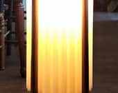"Danish Modern MCM 1960s teak 36"" ambiance floor lamp with fluted canister shade by Woolums Mfg."