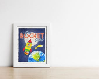 Retro Nursery Space Poster PRINTABLE - Vintage Inspired Travel Poster - Moon Rocket Rides - Digital Art Print - Baby Shower Gift - SKU#4475