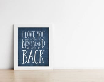 Nursery Art Print - I love you to Neverland and back - Peter Pan - Navy Blue -  Nursery wall decor - Dark Blue - Baby Shower Gift - SKU:1430