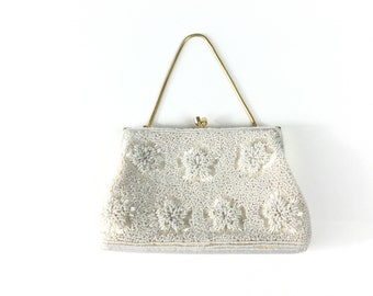 White clutch, white beaded purse, White purse, white bag, 1950s, 50s beaded bag, wedding bag, vintage purse, beaded purses,