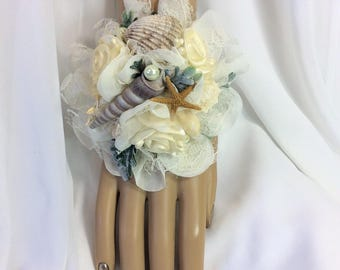 Beach Corsage Flowers-Brides Corsage-Bridal Wedding Flowers-Ivory-Seashells and Flowers-Bridesmaids Corsage-Mothers Flowers-Nautical Wedding
