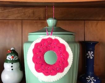 Handmade Felt Donut Christmas Ornament