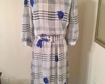 Vintage 1980s 1970s Breli Originals Sheer White Plaid Blue Rose Belted Dress Three Quarter Sleeves Retro Secretary