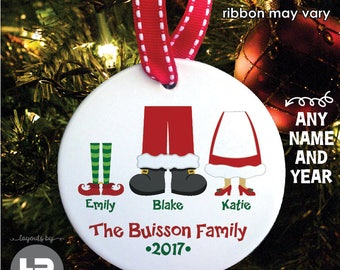 Personalized Family Christmas Ornament - Santa & Elves Family of 3 Ornament