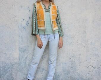 Vintage Suede Leather Patched Vest Tangerine Vintage 70s Lined Faux Sherpa Front Tie Vest