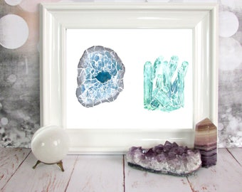 PRINT Celestite and Aquamarine Crystal Watercolour Painting 8 x 10 or 11 x 14