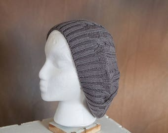 Gray Slouch/Beret Hand Knit Hat