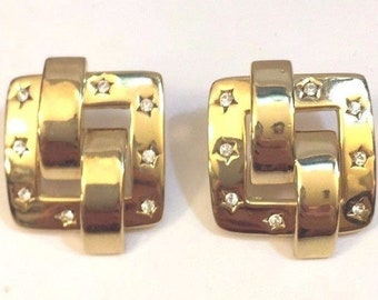 Joan Rivers Pierced Earrings - Gold Tone Squares with Crystal Stars -          S2214