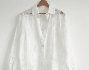 VTG Sheer Button-down Blouse // Vintage // Flower Print // Top // White // Bohemian